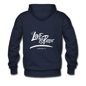 """Love Is Patient"" Men's Hoodie - navy"