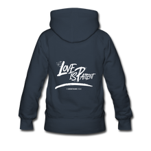 "Load image into Gallery viewer, ""Love Is Patient"" Women's Hoodie - navy"