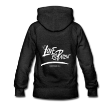 "Load image into Gallery viewer, ""Love Is Patient"" Women's Hoodie - charcoal gray"