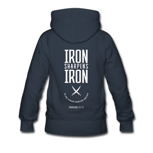 """Iron Sharpens Iron"" Women's Hoodie - navy"