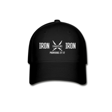 "Load image into Gallery viewer, 'Iron Sharpens Iron"" Baseball Cap - black"