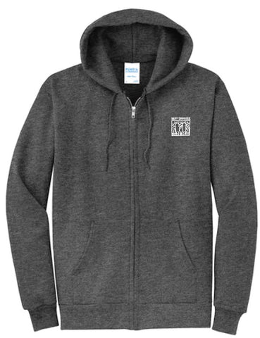 Full-Zip White Haring Hoodie (Dark Heather Grey)