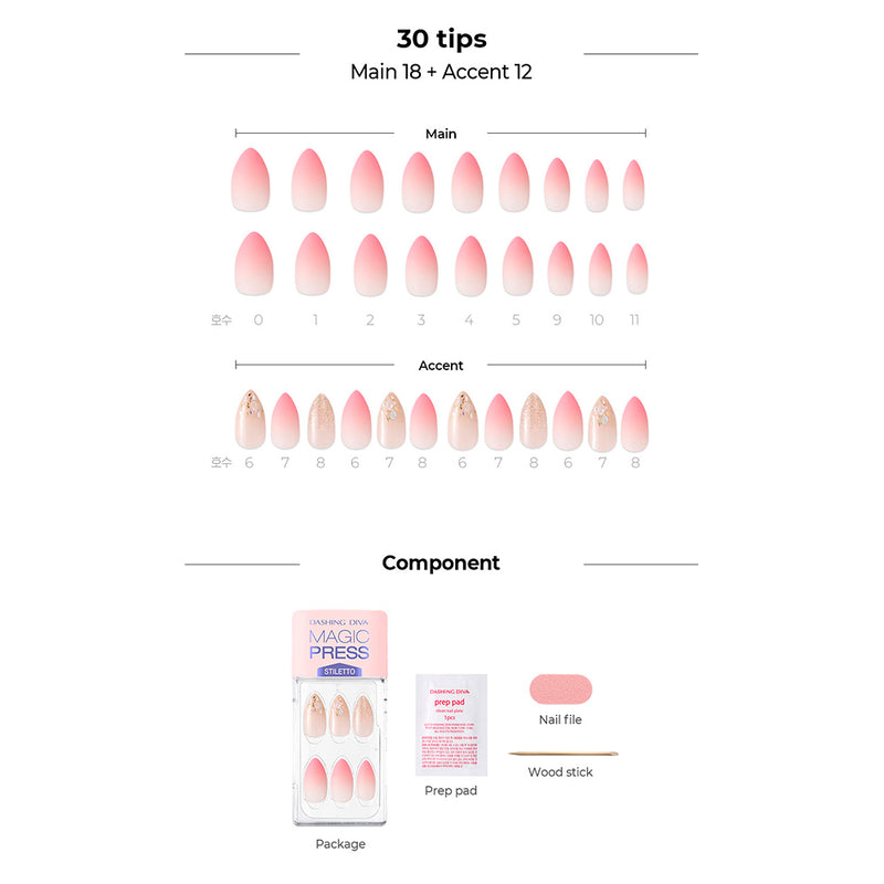 Magic Gel Press Manicure: MDR724ST (Stiletto-Super Slim Fit)