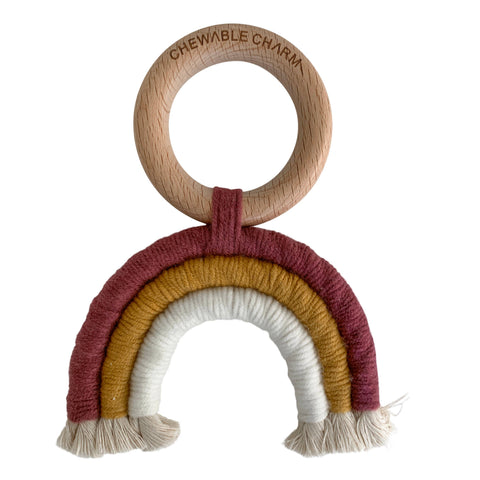 Rainbow Macrame Teether- Berry + White