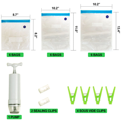 25PC Sous Vide Vacuum Sealer Kit - 18 Reusable Resealable Zipper Food Bags With 1 Handheld Pump, 4 Sous Vide Clips, and 2 Sealing Clips