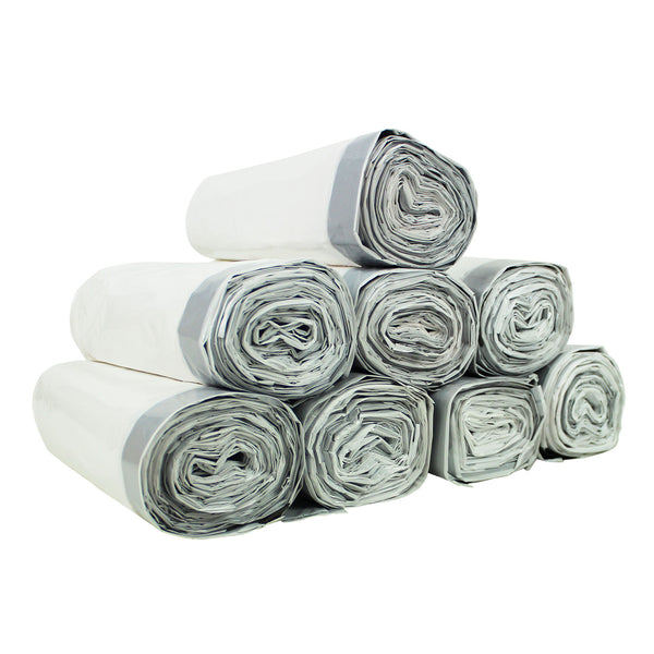 Commercial Bargains Custom Fit Drawstring White Trash Bags, 8 Rolls, Simplehuman Compatible (200 Count)