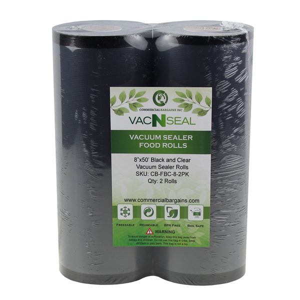 "2 Large Commercial Bargains 8"" x 50' Black And Clear Vacuum Food Sealer Saver Rolls Bags Freezer"