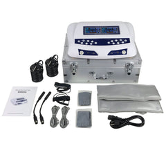 My Detox Foot Bath Dual Ion Digital LCD Display Detox Ion Ionic Aqua Foot Bath Spa Chi Cleanse Cell Detoxification Machine with Silver Aluminum Box, Arrays, TENS Pads, Wrist Straps, and Waist Belts
