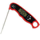 "Waterproof Digital Instant Read Meat Thermometer With 4.6"" Folding Probe Red"