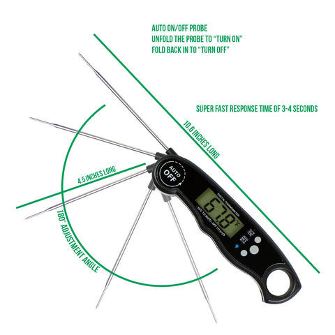 "Waterproof Digital Instant Read Meat Thermometer With 4.6"" Folding Probe Black"