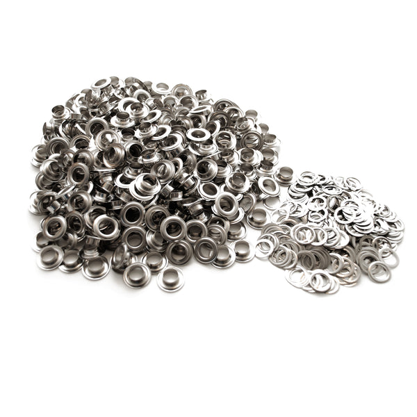 "1000 Pack Nickel Finish #3 7/16"" Grommets & Machine Washers Eyelets Hang Sign"