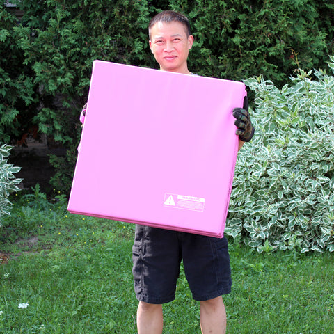 Tri-Fold Mat  6'x2' Pink For Aerobics Gymnastics Yoga Exercise With Handles