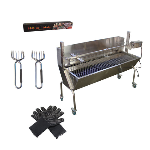 BBQ Rotisserie Grill With Back Cover Plus Gloves Grill Mats And Meat Claws