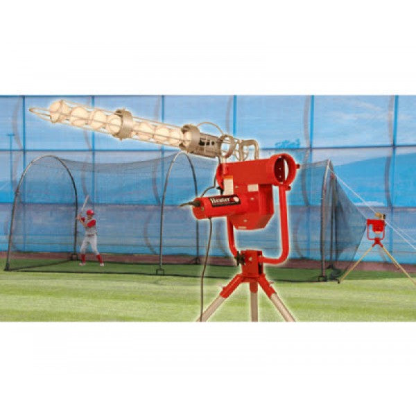 Heater Pro Curve Pitching Machine and Xtender 24 Home Batting Cage