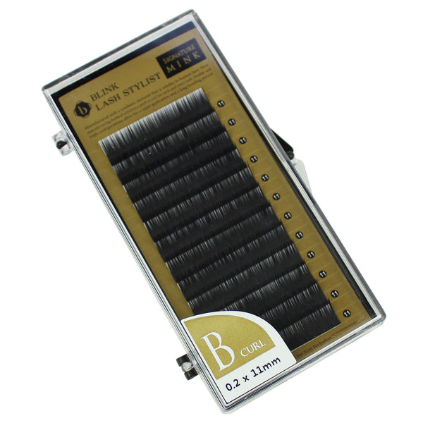 Eyelash Extension Blink Mink B 0.20mm X 11mm Curl Individual Black False Lashes