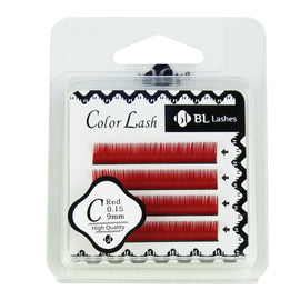BL Lashes Color Lash C Red 0.15 Thickness 4 Lines