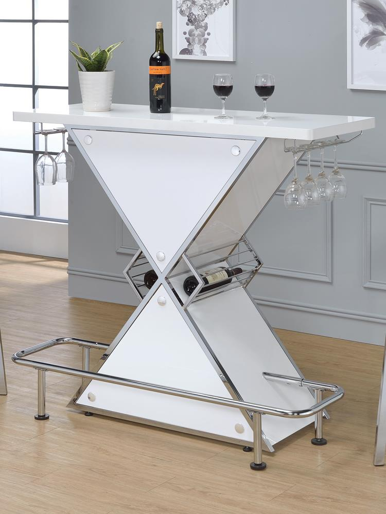 G130078 Contemporary White Stacked Triangle Bar Unit image