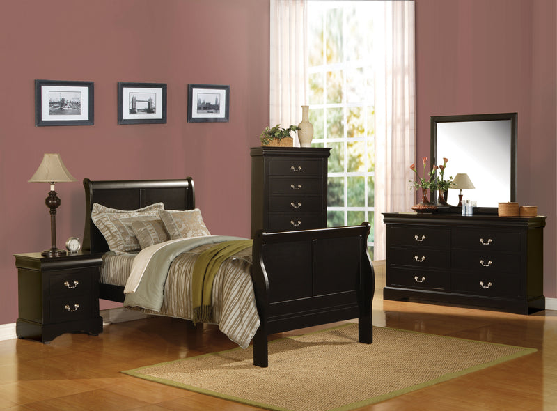 Louis Philippe III Black Full Bed