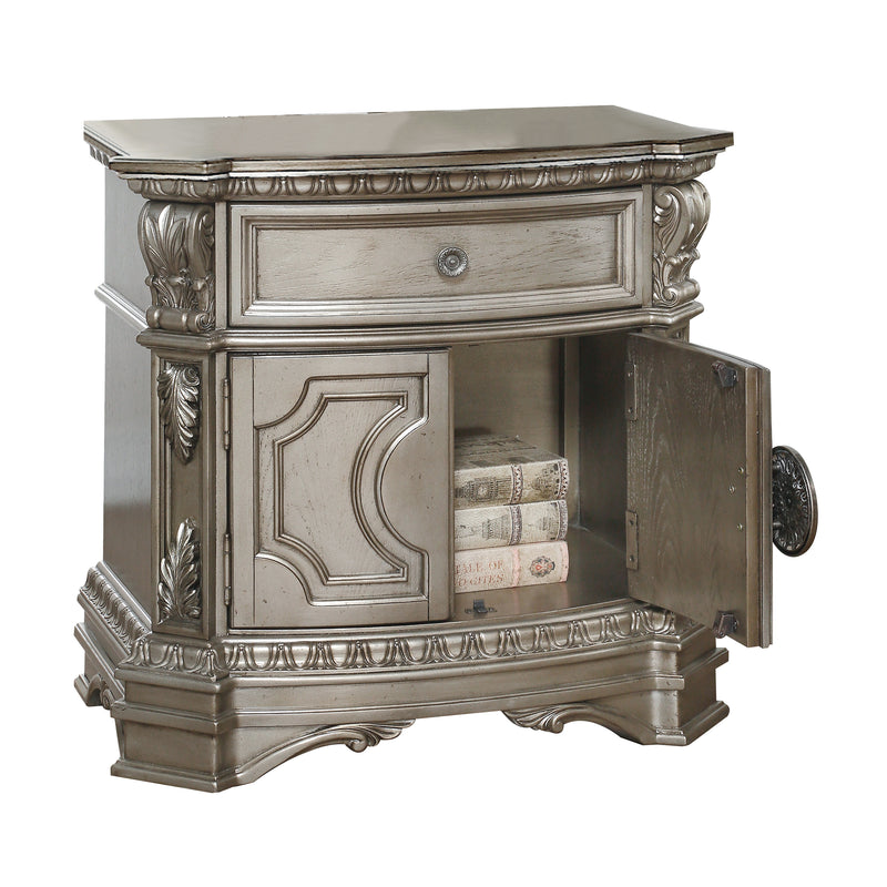 Northville Antique Silver Nightstand (WOOD TOP)