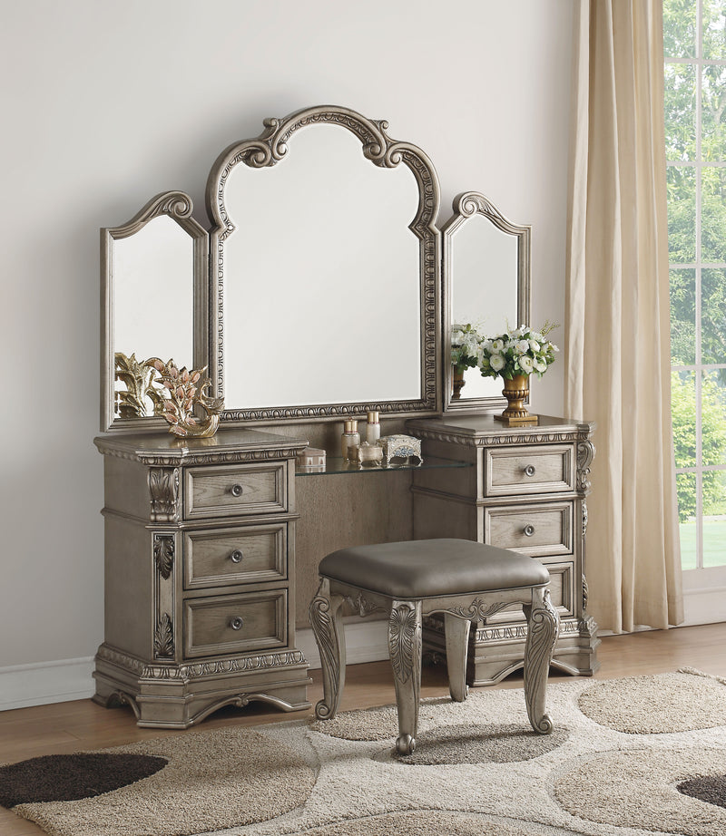 Northville Antique Silver Vanity Desk