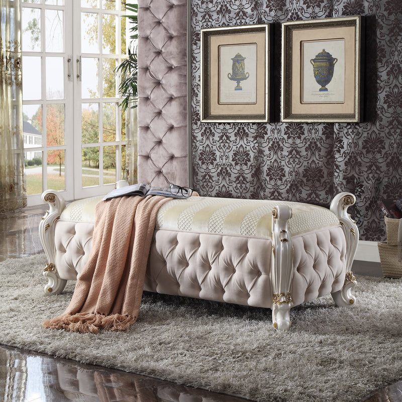 Picardy Fabric & Antique Pearl Bench