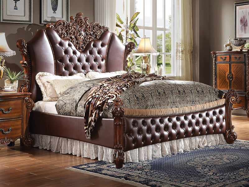 Acme Vendome II King Upholstered Bed with Button Tufted Headboard in Cherry 28017EK image