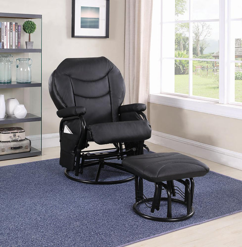 G2946 Upholstered Casual Black Swivel Glider and Ottoman image
