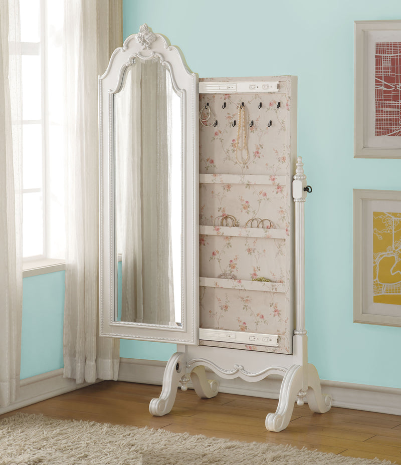 Edalene Pearl White Jewelry Armoire (Cheval)