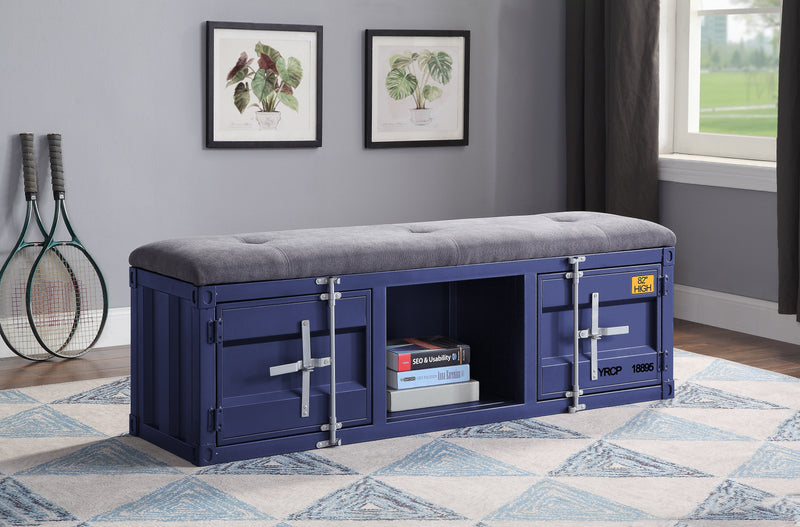 Cargo Gray Fabric & Blue Bench (Storage)