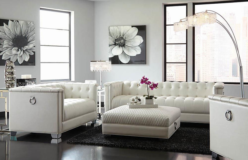 Chaviano Contemporary White Sofa image
