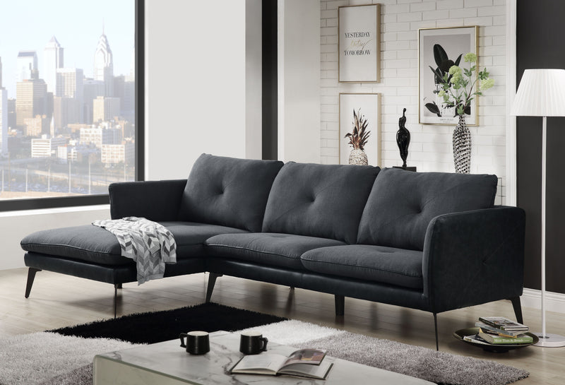 Harun Gray Fabric & PU Sectional Sofa