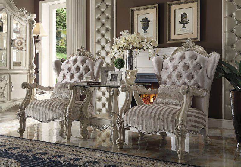 Versailles Ivory Velvet & Bone White Chair & 1 Pillow