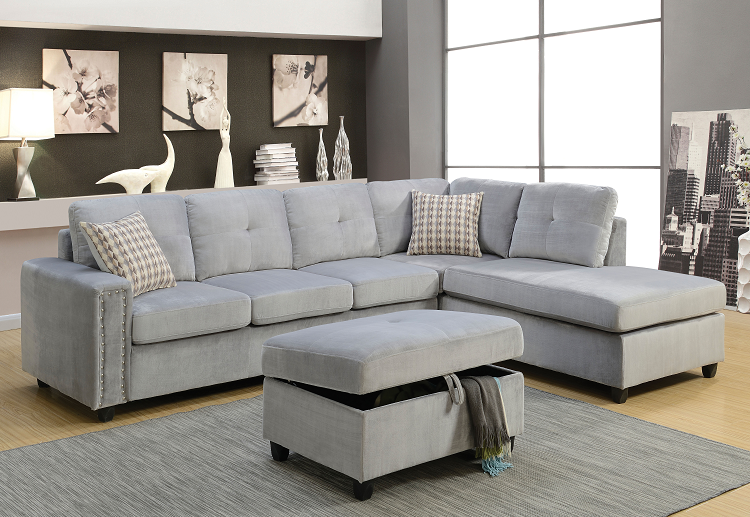 Belville Gray Velvet Sectional Sofa w/Pillows image