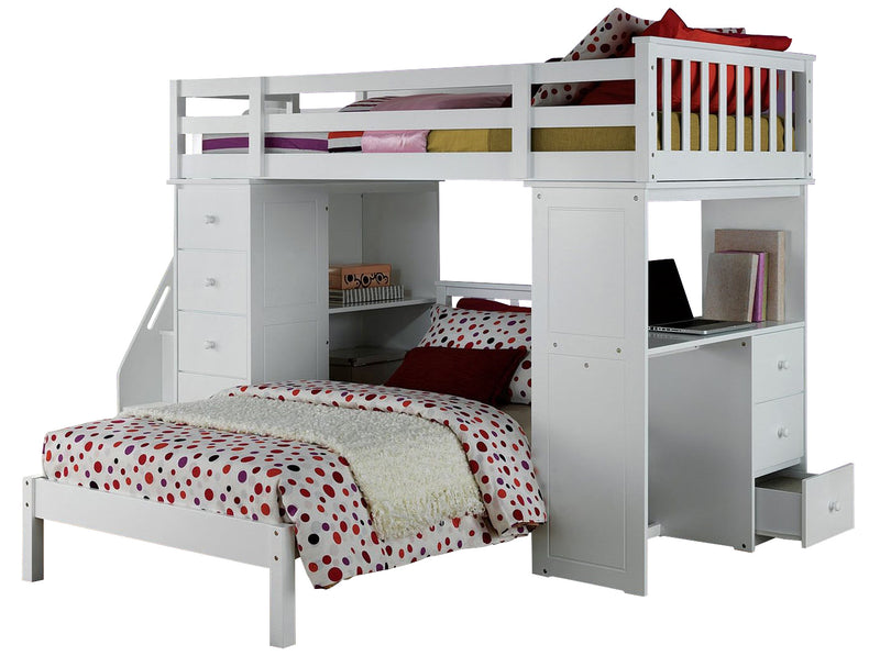 Acme Freya Loft Bed Set with Twin Bed in White 37145/37152 image