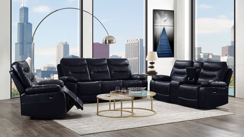 Aashi Navy Leather-Gel Match Sofa (Motion)