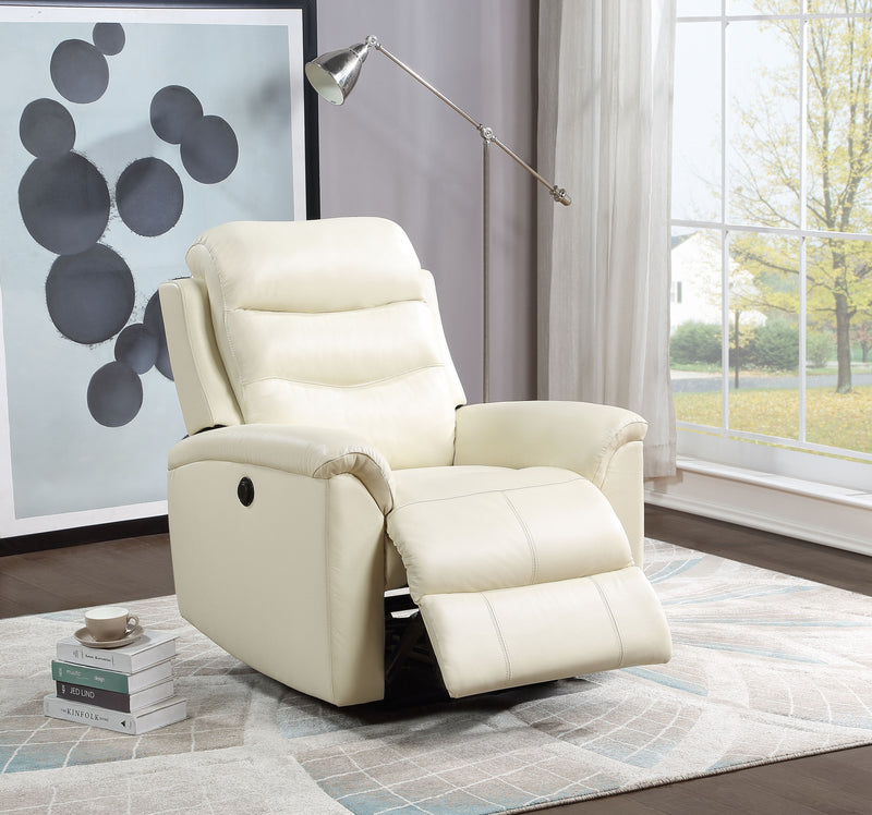 Ava Beige Top Grain Leather Match Recliner (Power Motion)