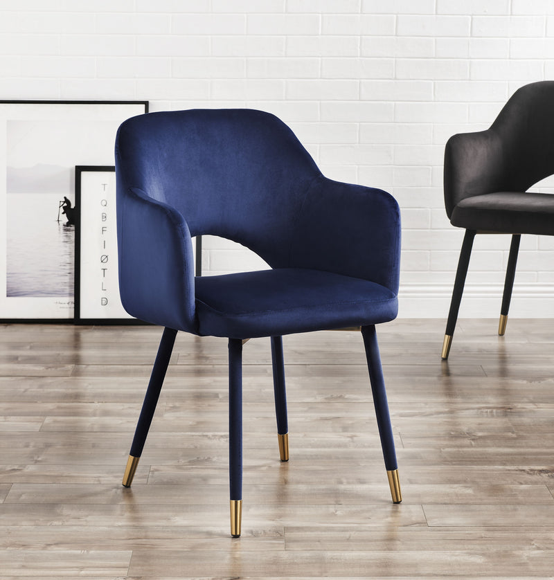 Applewood Ocean Blue Velvet & Gold Accent Chair