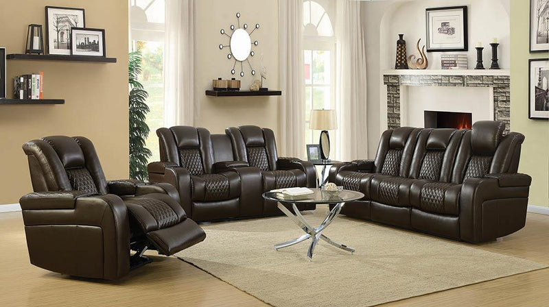 Delangelo Brown Power Motion Reclining Loveseat image