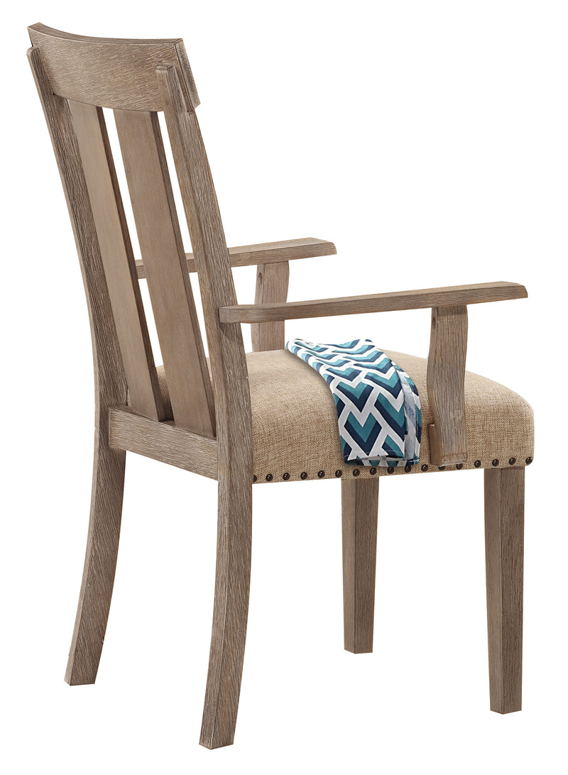 Nathaniel Fabric & Maple Arm Chair (Set-2), Slatted Back
