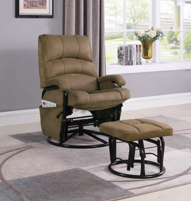 G650005 Casual Brown Reclining Glider with Matching Ottoman image