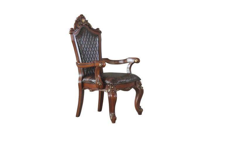 Picardy Cherry Oak & PU Arm Chair (Set-2)