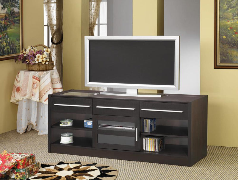 G700650 Contemporary Cappuccino TV Console With Connect-It Power Drawer image