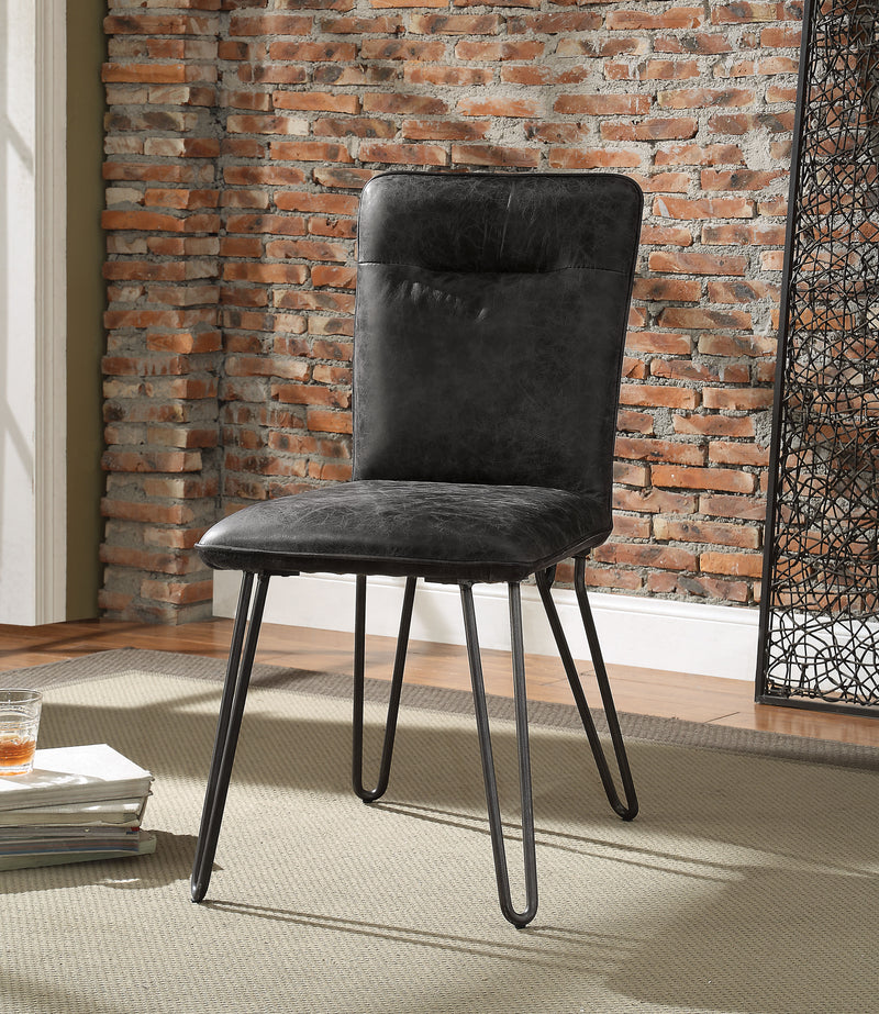 Hosmer Antique Ebony Top Grain Leather & Antique Black Side Chair (Set-2)