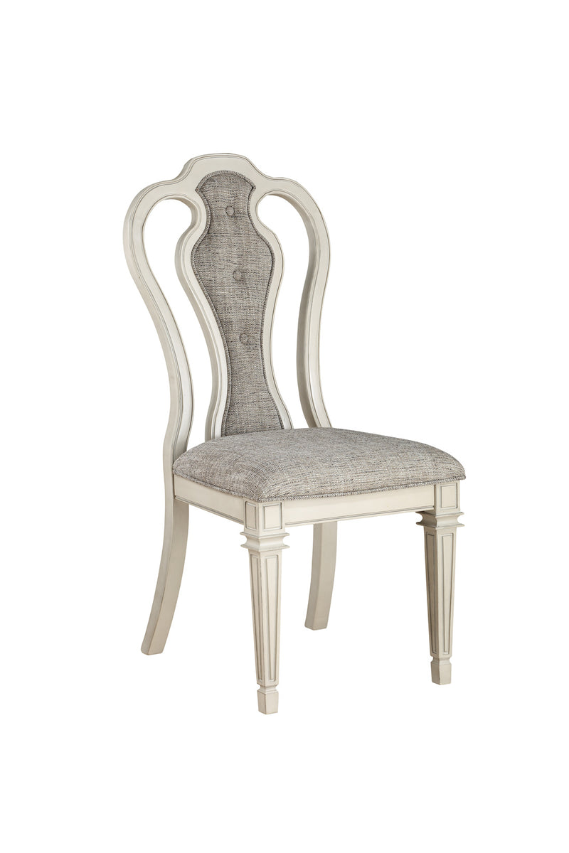 Kayley Linen & Antique White Side Chair (Set-2)