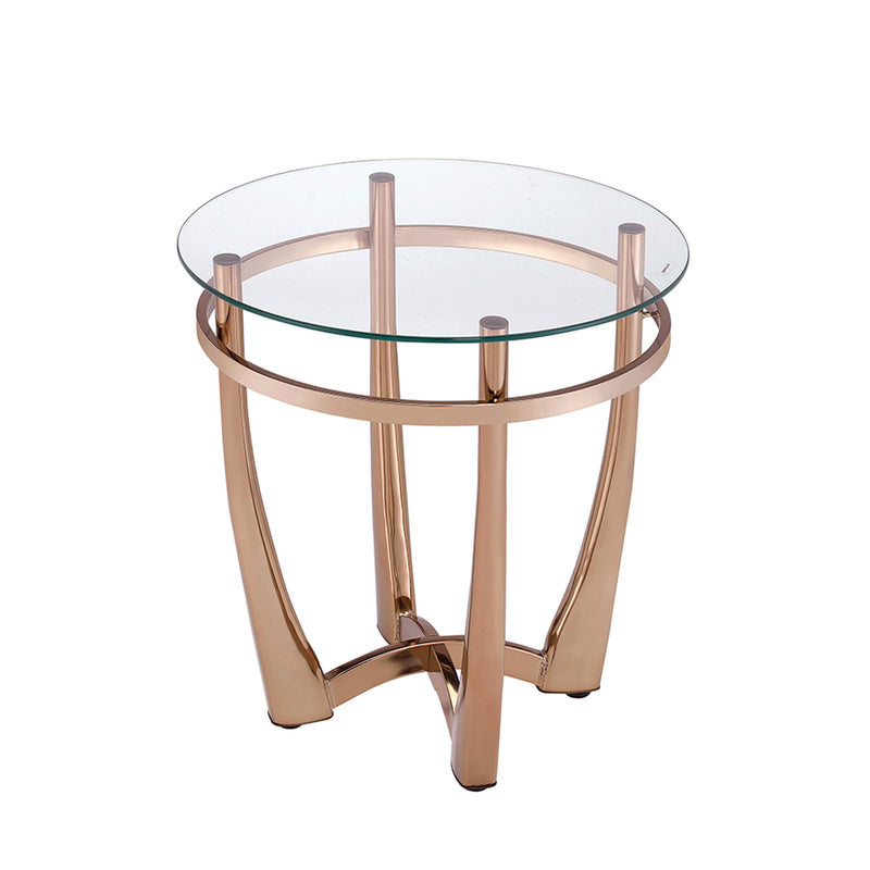 Orlando II Champagne & Clear Glass End Table