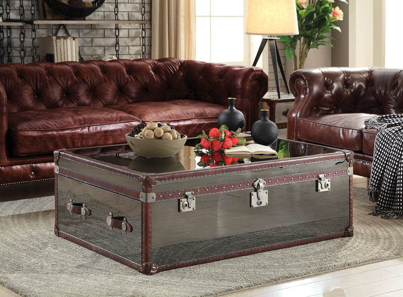 Aberdeen Vintage Dark Brown Top Grain Leather & Stainless Steel Coffee Table