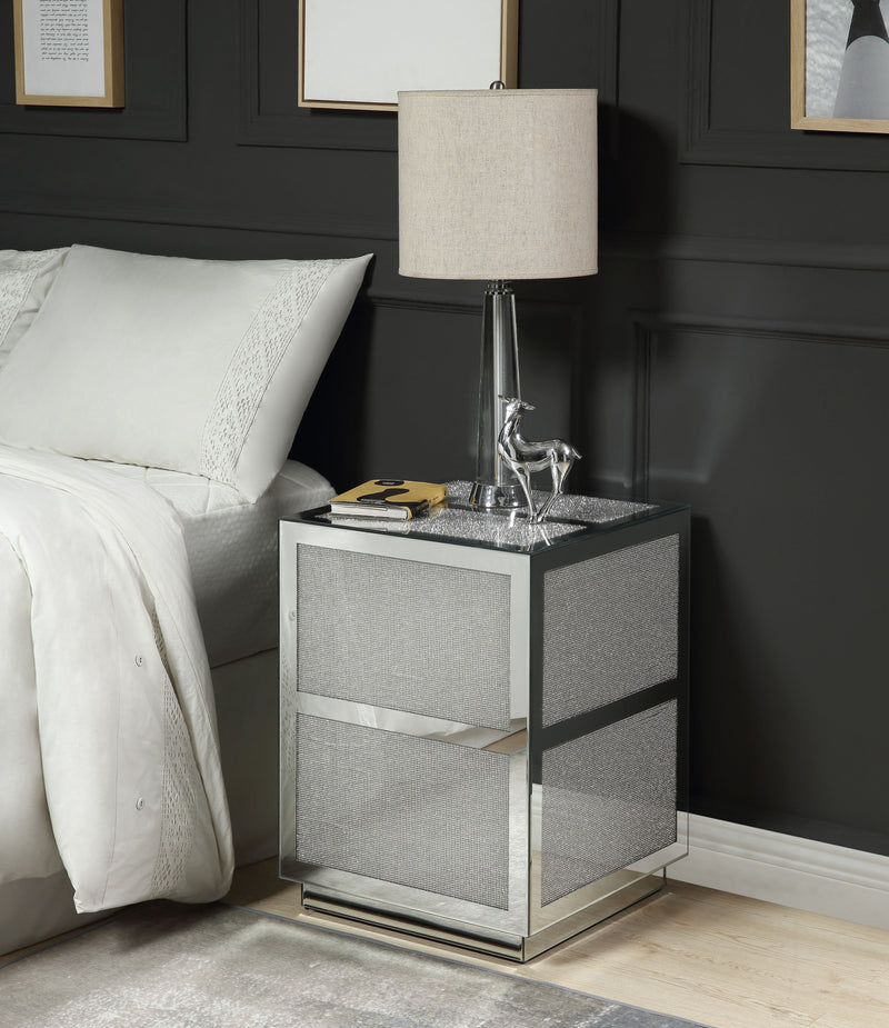 Lavina Mirrored & Faux Diamonds End Table