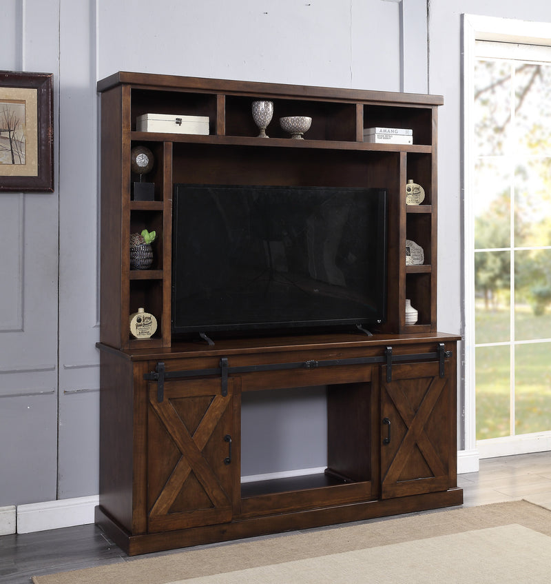 Aksel Walnut Entertainment Center w/Fireplace