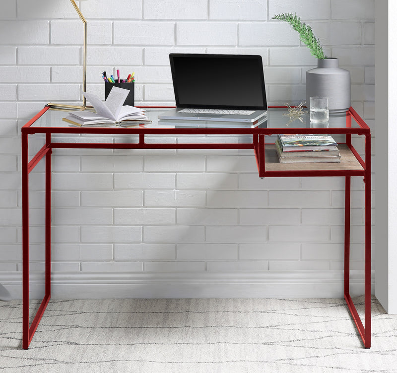 Yasin Red & Glass Desk