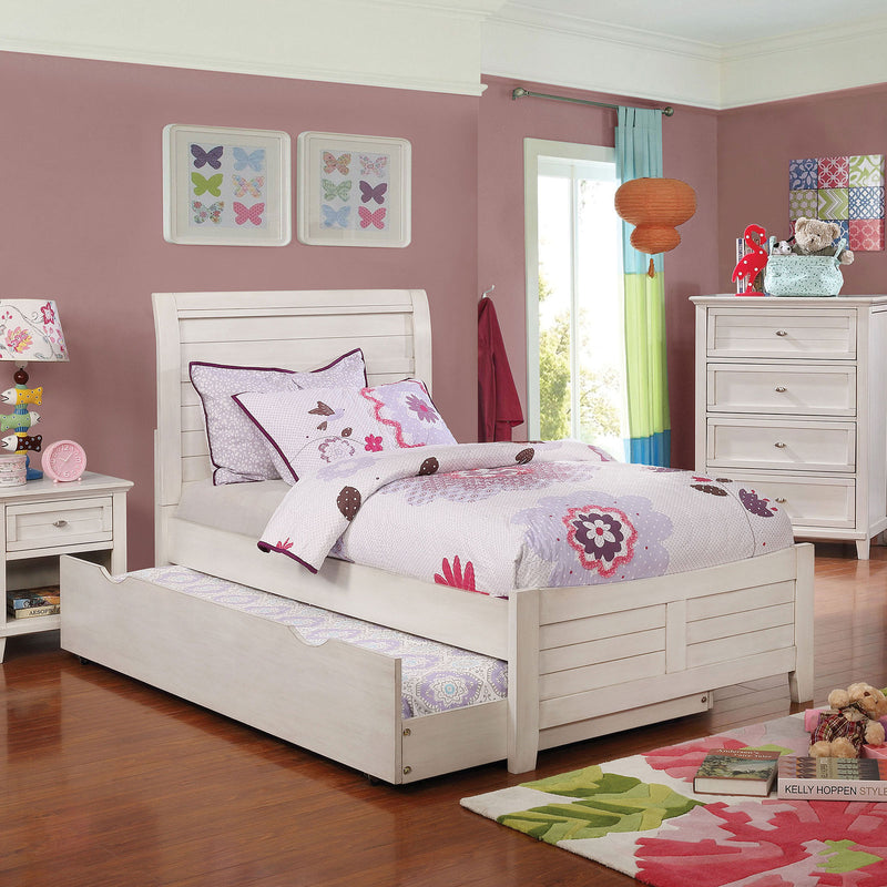Brogan Antique White Twin Bed